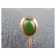 14 kt. yellow Gold and Jade stickpin, c. early 1900's
