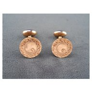 Pair Edwardian Engraved Gold-filled cuff links
