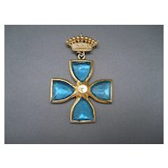 Cross Pin/Pendant, Blue Glass Stones & Crown, 60's