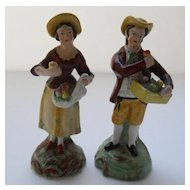 Pretty Staffordshire Pottery Man and Woman Figurines