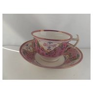 English Antique Pink Lustre cup/saucer, early 1800's
