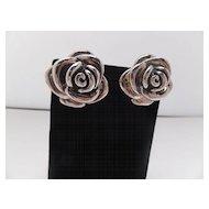 Sterling Pierced Rose Earrings