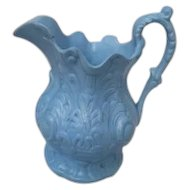 Antique Blue Moulded English Pottery Pitcher/Jug