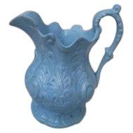Antique Blue Moulded English Pottery Pitcher/Jug