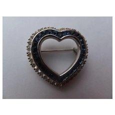 Ciner Simulated Diamond & Sapphire Heart Pin, c. 50's