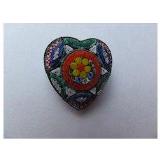 Vintage Heart Shaped Mosaic Pin