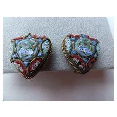 Vintage Mosaic  Heart Shaped Earrings, screw back