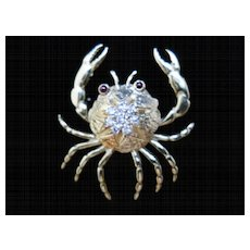 14 kt Yellow Gold  and Diamond Crab Pin / Brooch