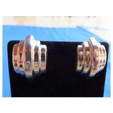 Retro Style Sterling Pierced Earrings