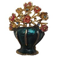 Enameled Basket with Flowers