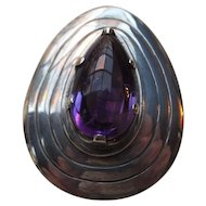 Los Ballesteros Sterling & Amethyst Pendant or Pin, Early