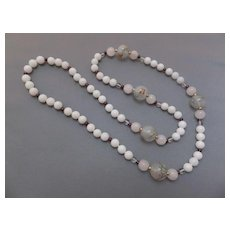 White Jade, Garnet and Decorated Glass Necklace