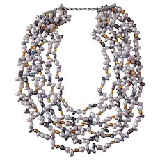 Six Strand Multicolored Freshwater Pearl Necklace