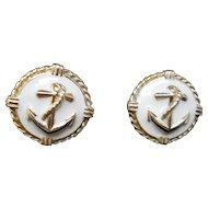 Gold tone and White Enamel Pierced Earrings