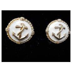 Gold and white Enamel Pierced Earrings
