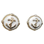 Gold and white Enamel Pierced Earrings