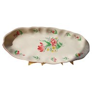 French faience fish platter, Luneville, tulip pattern