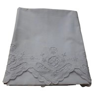 Percale Cases, Pair, Hand Embroidery & Cutwork