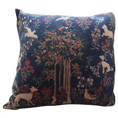 Vintage Tapestry Pillow with Medieval Theme