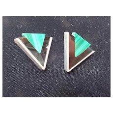 Navajo Earrings, Onyx, Malachite, Sterling
