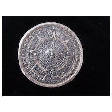 Sterling Aztec Calendar pin/pendant