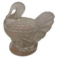 Molded Glass Turkey Bowl with Lid, c. 40's