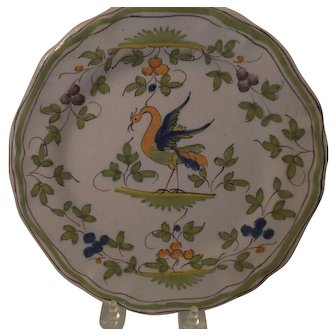 Unusual Faience Plate with Mythical Bird