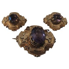 Unusual set of 3 Amethyst Victorian pins