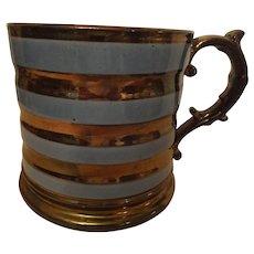 Handsome oversized copper lustre mug, c. 1850