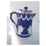 Dark blue Jasperware covered Jug with Sterling rim by Adams, c. early1900's