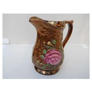 English Copper Lustre Jug (pitcher) with Rose enamel design, c. 1860