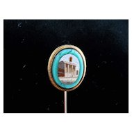 Awesome micro mosaic and 14 kt. gold & malachite antique stickpin