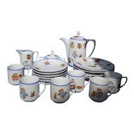 Delightful Happifats (Rudolstadt) child's 23 piece tea or coffee set, c. 1914-20's