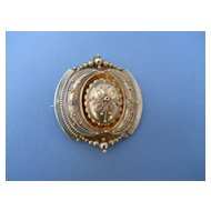 Superb Etruscan Revival 14 karat gold pin with hair locket, c. 1800's