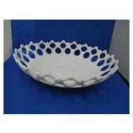 Large Antique Flint Milk-White Bowl with Lattice Edge
