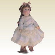 "Pale Blue Vintage Dress - Fits 12"" Doll"