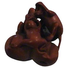 Signed Carved Wood Netsuke Monkeys