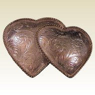 Vintage Ladies Western Buckle - Double Hearts