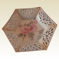 Lovely Pierced Octagon Shaped Candy Dish with Roses