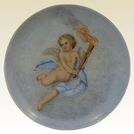 "Very Wonderfully hand painted Vintage Cupid Plate, 10 1/4"" across"