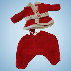 Cute Vintage Hand Knit Santa Suit