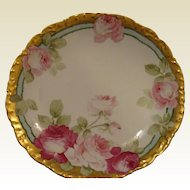 Beautiful Gold Rimmed Decorator Plate, Hand painted and signed