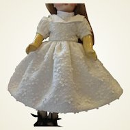 "Pique Flowered Dress and Chemisette for 12"" Doll"
