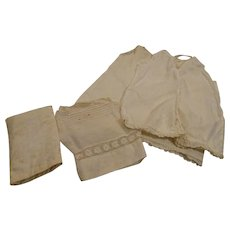 Antique Onsie, Antique Slip, and Vintage Pillow and 2 cases