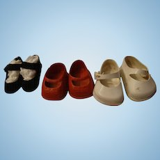 """3 Pair of  Small 1950""""s Shoes"""
