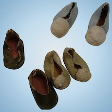 3 Pair Early Hard Plastic Shoes For 8 inch Dolls