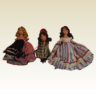 Three Early Bisque Storybook Dolls---Free Shipping