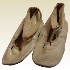 Pair of Fine White Antique Leather Doll Shoes - Free shipping