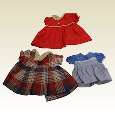 Three Vintage Doll Dresses; 1940's & 1950's