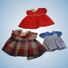 Three Vintage Doll Dresses; 1940's & 1950's